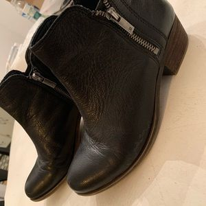 Lucky Brand black with brown soles booties